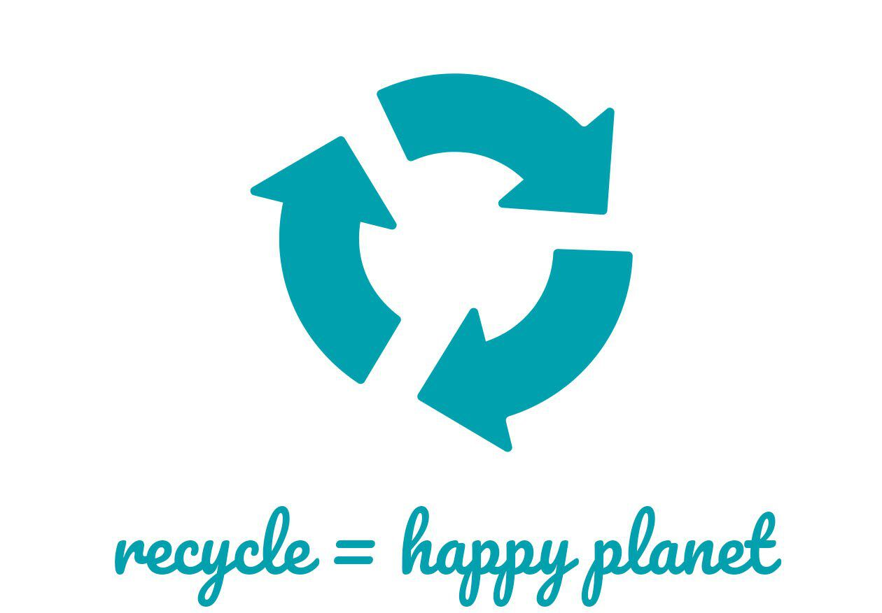recycle equals happy planet icon